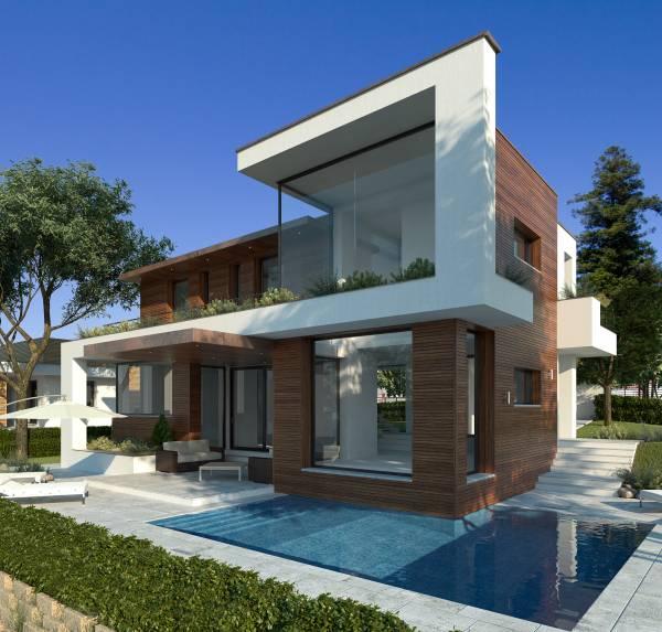 Villa moderna di design con piscina e taverna for Prospetti di villette