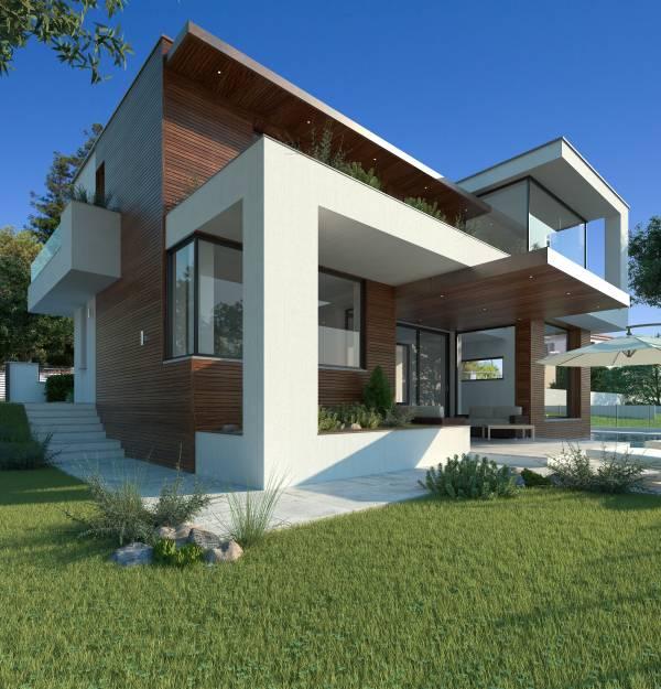 villa moderna di design con piscina e taverna