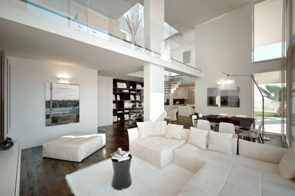 Villa moderna con piscina for Interni ville