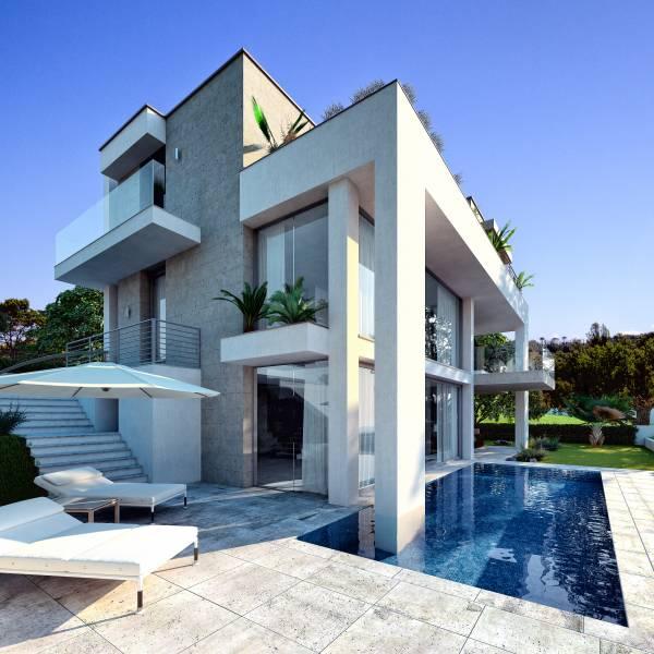 Villa moderna con piscina for Grandi pavimenti del garage