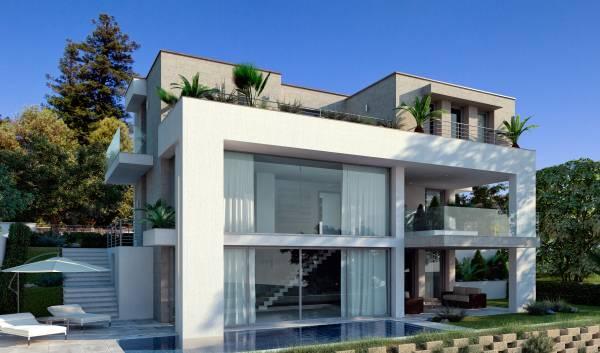 Villa moderna con piscina for Casa moderna kw